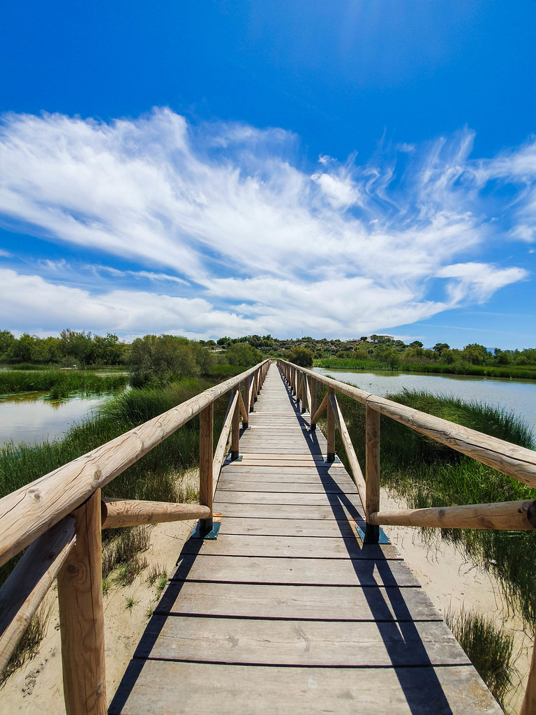 A wooden walkway between two smaller lakes.