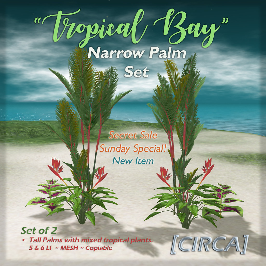 "SSS Event Item | [CIRCA] – ""Tropical Bay"" Narrow Palm Set"