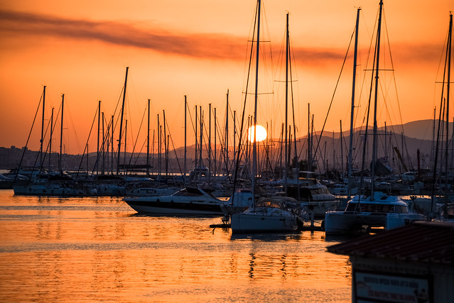 sunset at marina of alimos