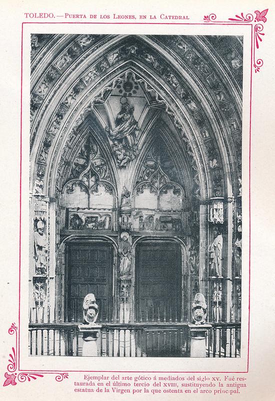 """Puerta de los Leones  hacia 1910. Publicada en """"Portfolio Fotográfico de España (cuaderno nº 3)"""" por Alberto Martín a iniciativa de Ceferino Rocafort"""