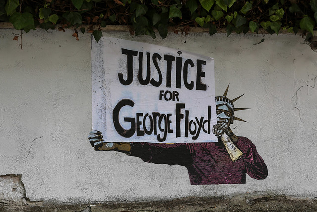 Justice for George Floyd - street artist Harry Greb