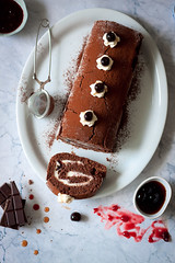 black forest vegan roll cake