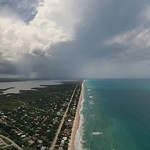 5. Mai 2020 - 22:22 - Drones eye view of the Space Coast looking north from Floridana Beach, Florida.