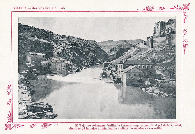 """Turbinas de Vargas y Molinos de San Servando  hacia 1910. Publicada en """"Portfolio Fotográfico de España (cuaderno nº 3)"""" por Alberto Martín a iniciativa de Ceferino Rocafort"""
