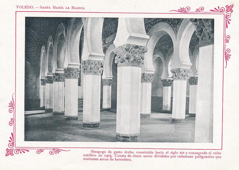 """Sinagoga de Santa María la Blanca  hacia 1910. Publicada en """"Portfolio Fotográfico de España (cuaderno nº 3)"""" por Alberto Martín a iniciativa de Ceferino Rocafort"""