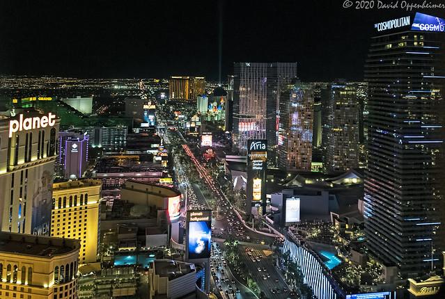 Las Vegas Strip at Night Aerial View