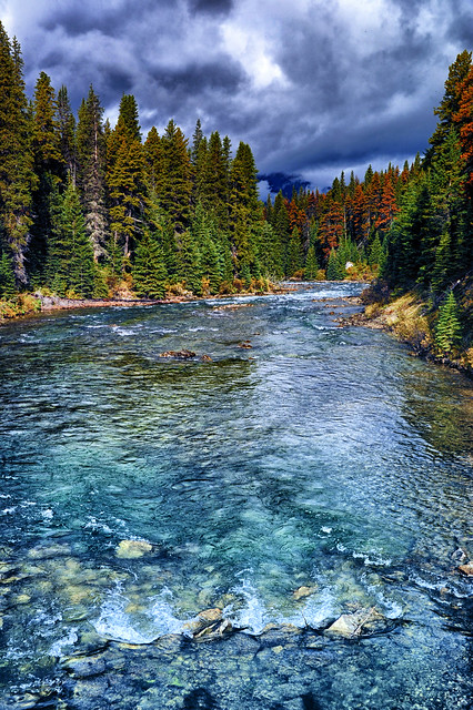 The Maligne River flows in a narrow channel to Medicine Lake