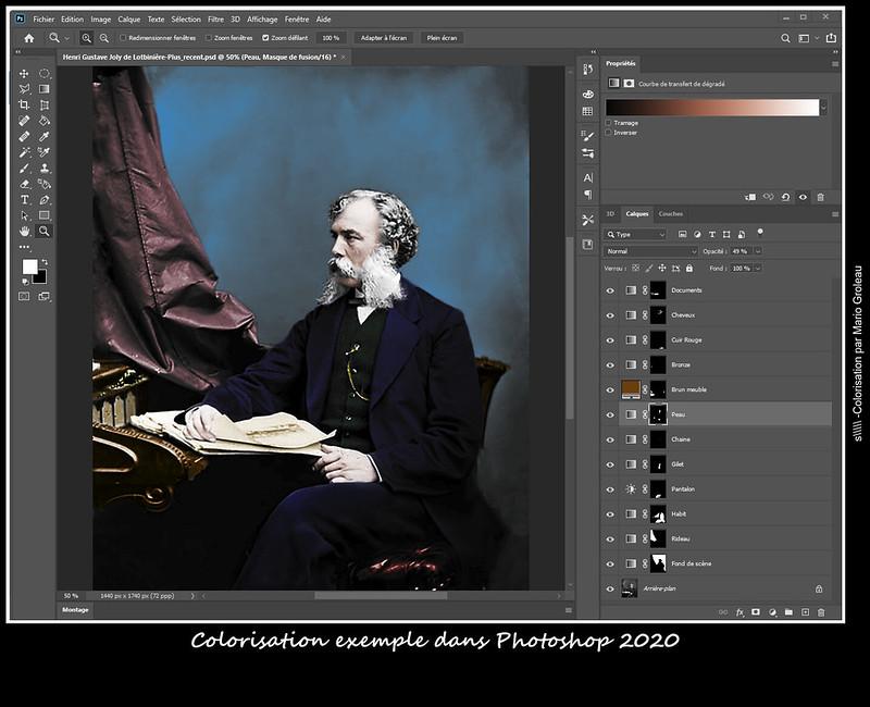 Colorisation exemple dans Photoshop 2020