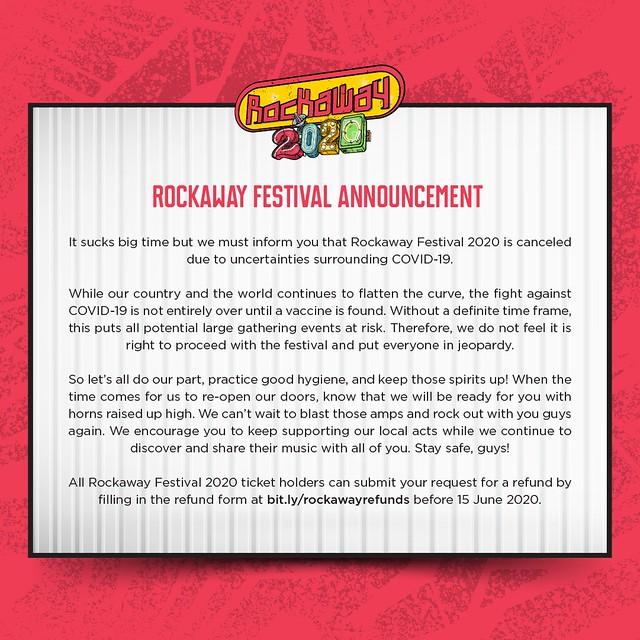 Rockaway Festival 2020 Dibatalkan Gara-Gara Pandemik Covid-19