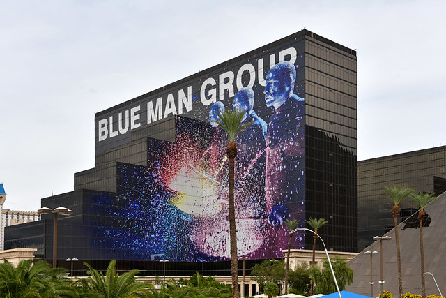 Las Vegas NV, USA 10-1-18 A large colorful sign on the facade of the Luxor Hotel promotes the Blue Man Group show