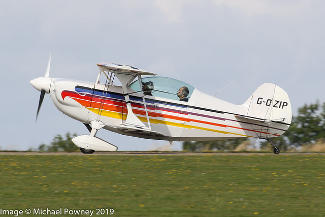 G-OZIP - 2007 build Christen Eagle II, arriving on Runway 21R at Sywell during the 2019 LAA Rally
