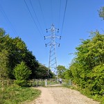 Pylon over a countryside path in Penwortham