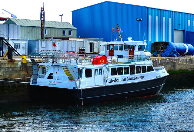 Scotland Greenock in the ship repair dock the Gourock to Dunoon foot passenger ferry Ali Cat 26 May 2020 by Anne MacKay