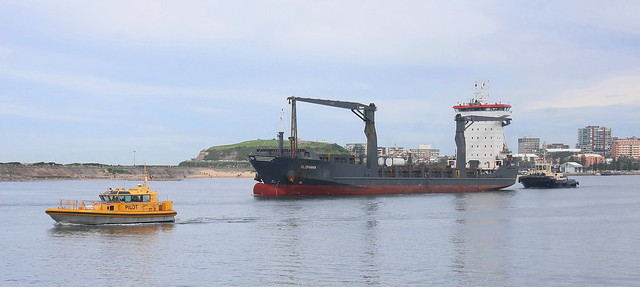 CONTAINER VESSEL 'OLOMANA' DEPARTING NEWCASTLE HARBOUR 31st May 2020.