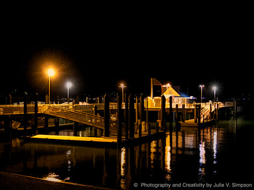 Russell Wharf at night graphical gold | by Julie Vause Photographer