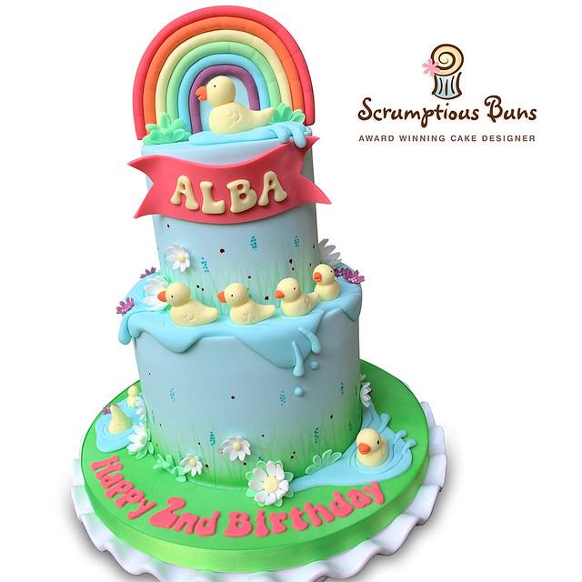 Rainbow Duck Pond Birthday Cake
