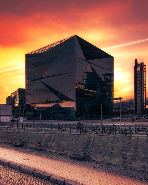 Burning Sky and futuristic architecture in Berlin