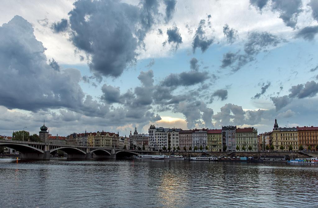 Prague sunset storm