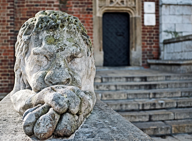 Sleeping Lion Figure ( Base of the Town Hall Tower) Market Square - Krakow Old Town ( Fujifilm X100F)