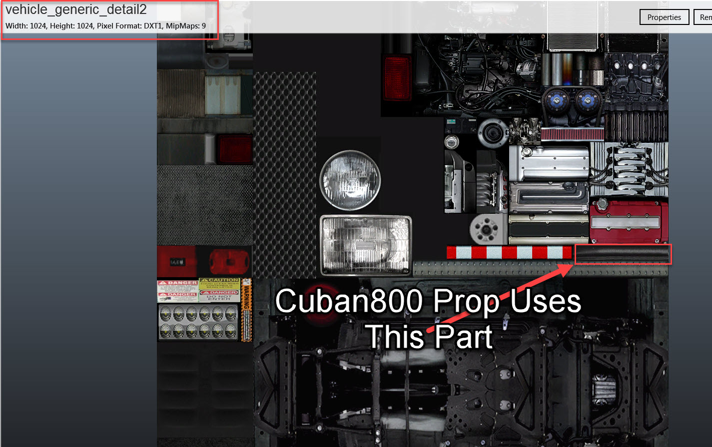 Cuban800 Prop Texture Location