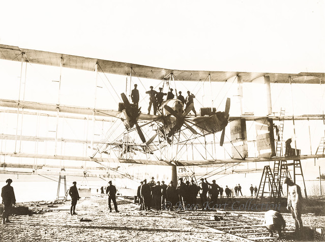 The nine-wing Caproni Transaereo under construction at the Lago Maggiore [Italy, 1921]