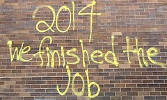Graffiti on the police HQ, Ferguson, May 31, 2020