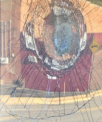 Reflection in front window of Beauty World, Ferguson, May 31, 2020
