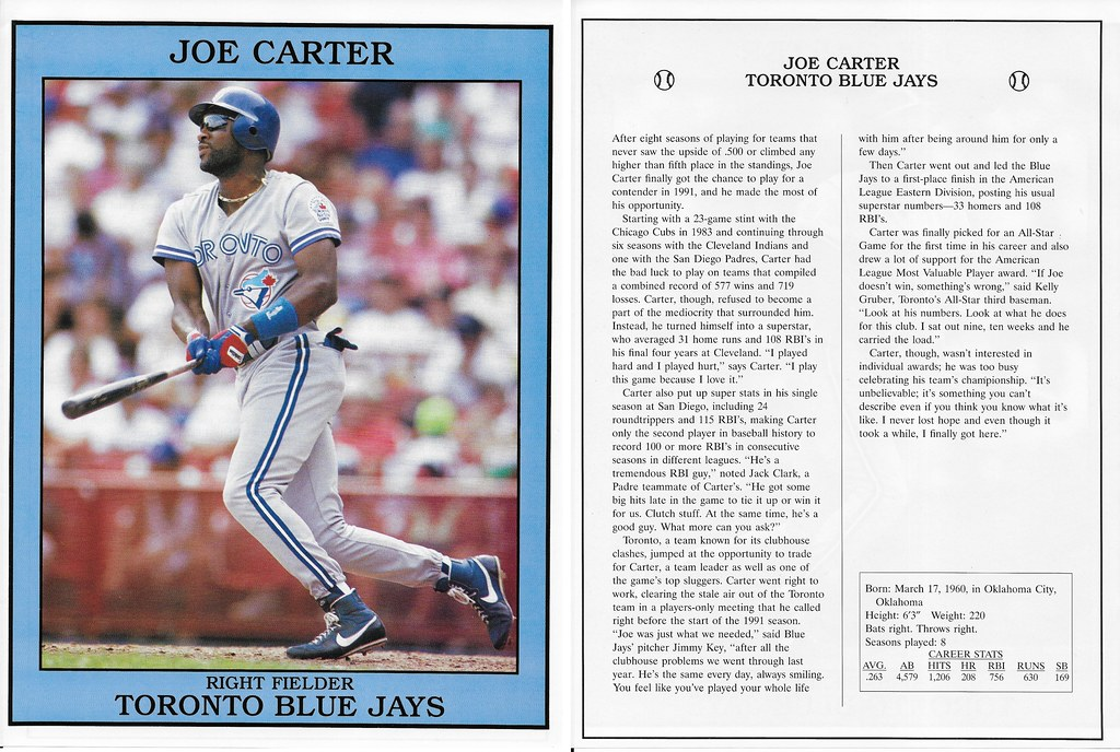 1992 East End Publishing Baseball Superstars Album - Carter, Joe