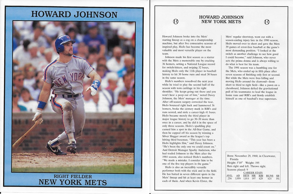 1992 East End Publishing Baseball Superstars Album - Johnson, Howard