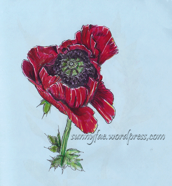 red poppy coloured with distress markers