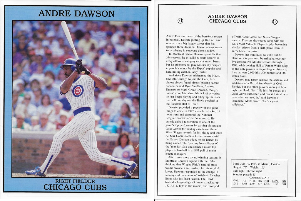1992 East End Publishing Baseball Superstars Album - Dawson, Andre