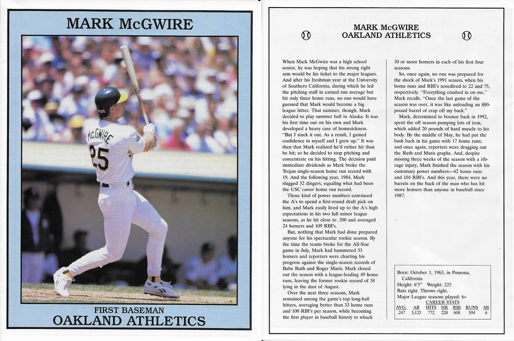 1993 East End Pub Poster Mark McGwire