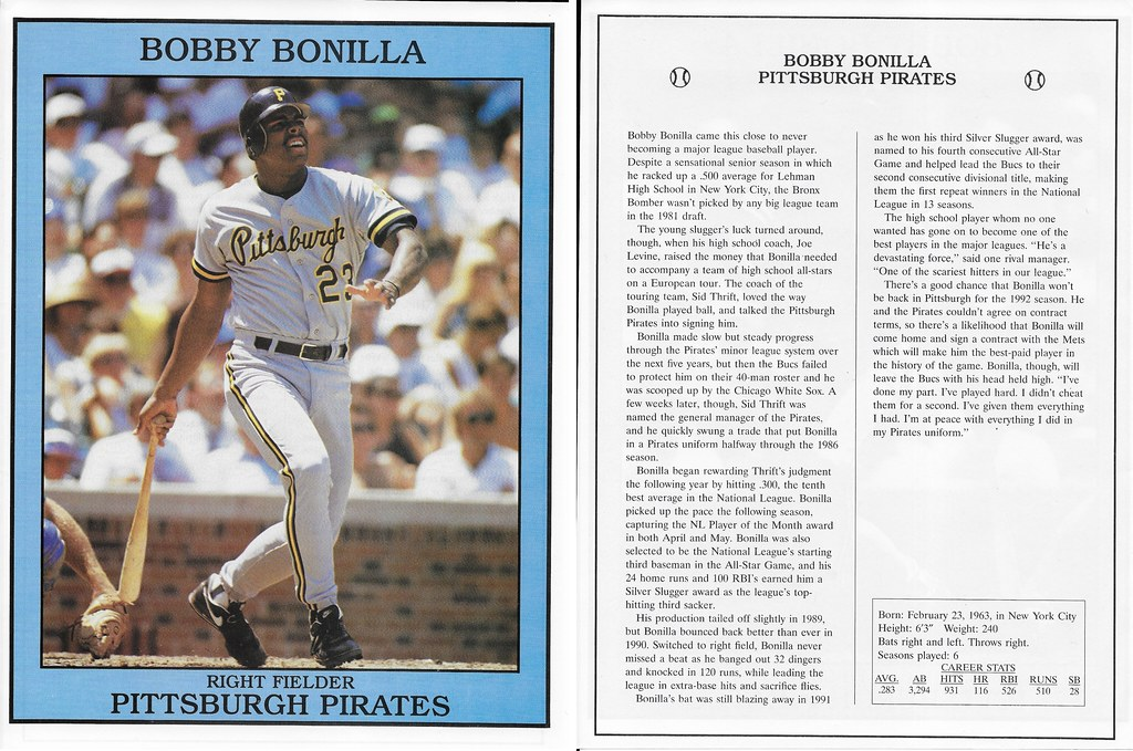 1992 East End Publishing Baseball Superstars Album - Bonilla, Bobby