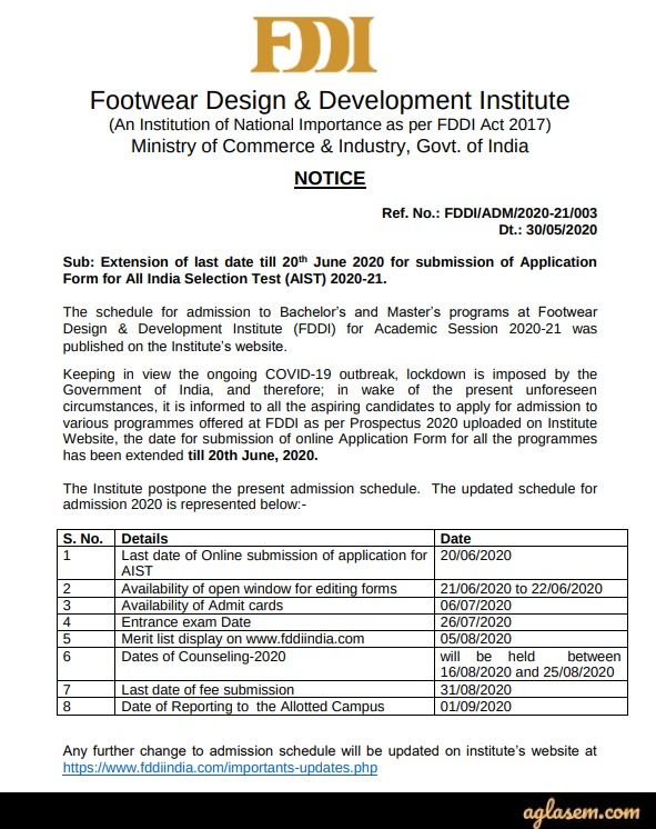 FDDI AIST 2020 Latest Announcement