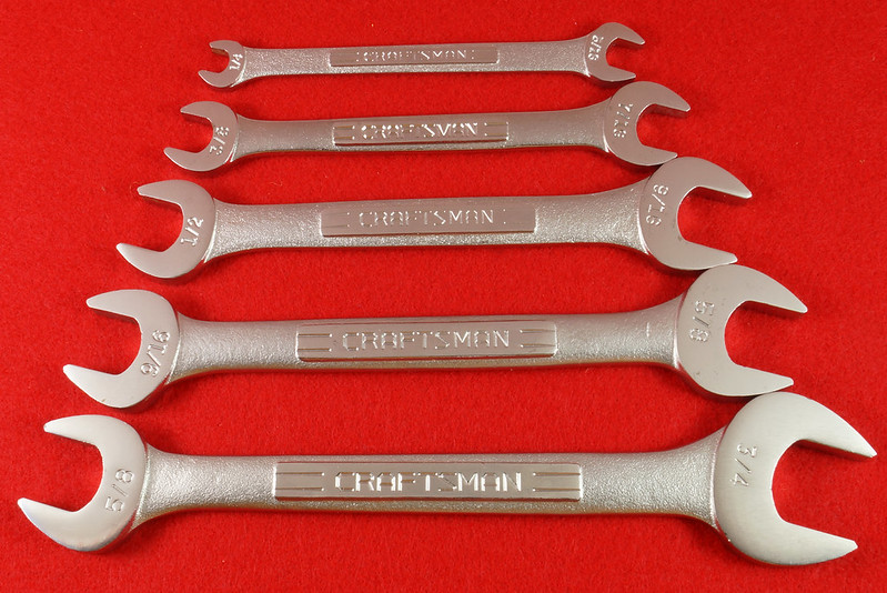 RD30112 Craftsman 5 pc Open End Wrench Set 9 44616 in Pouch DSC06712