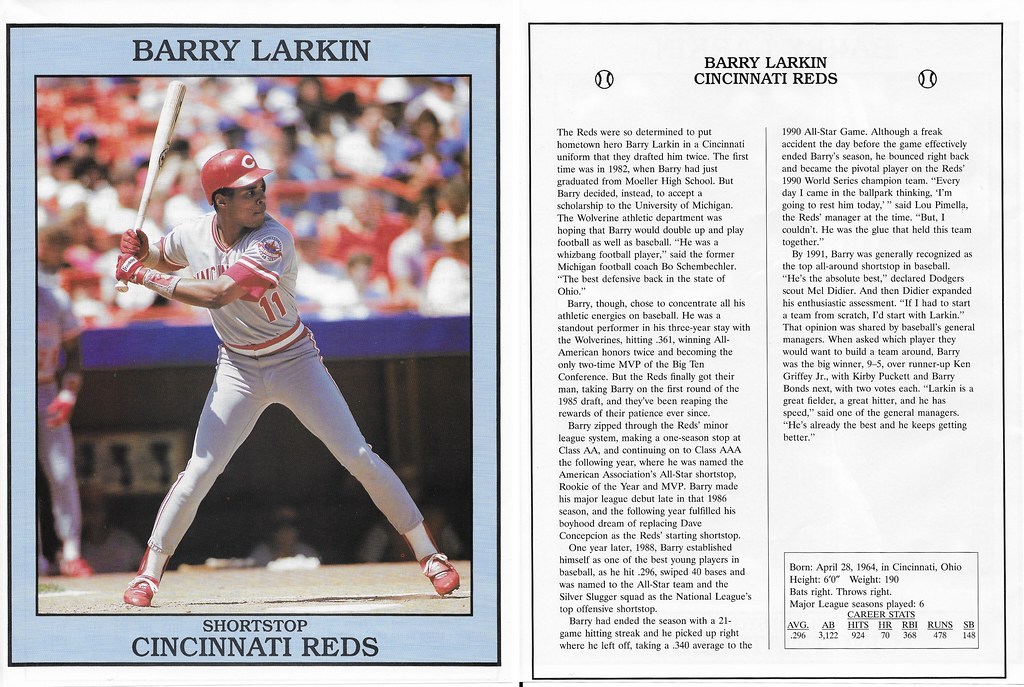1993 East End Pub Poster Barry Larkin