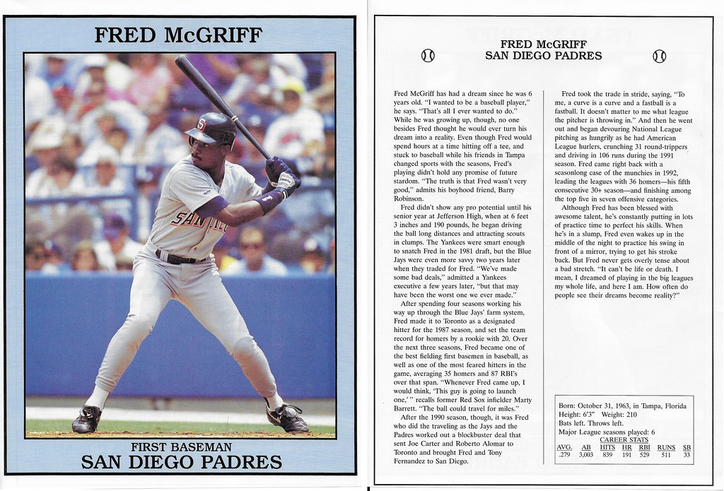 1993 East End Pub Poster Fred McGriff