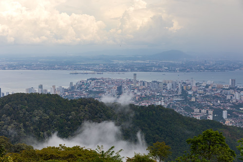 penanghill penang malaysia clouds fog georgetown aerial view