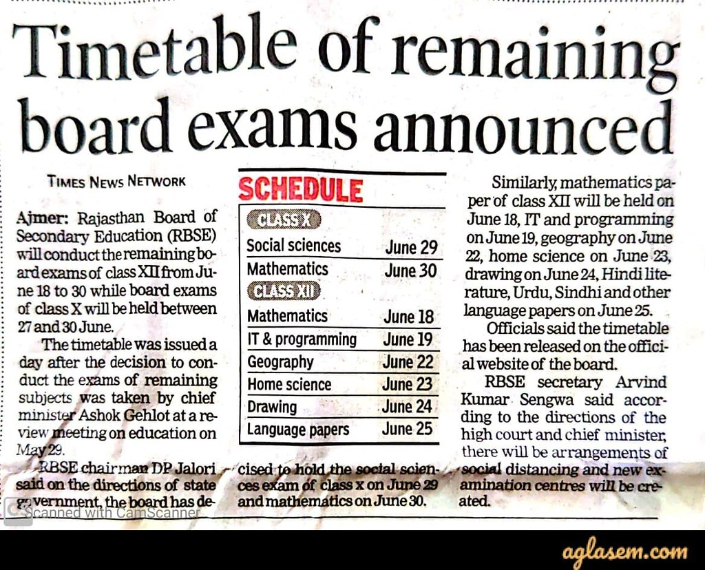 RBSE 10th new exam date 2020