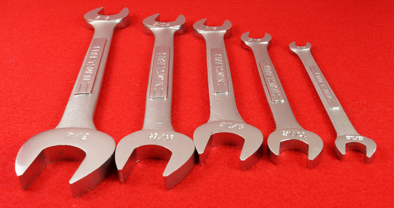RD30112 Craftsman 5 pc Open End Wrench Set 9 44616 in Pouch DSC06720