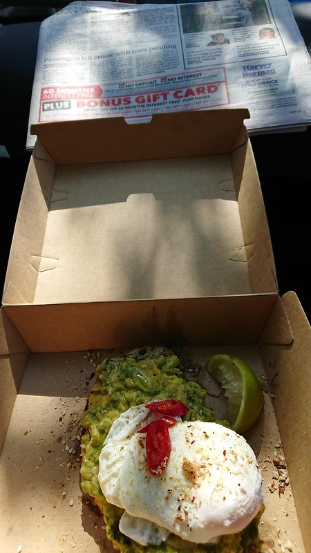 Brekky in car.