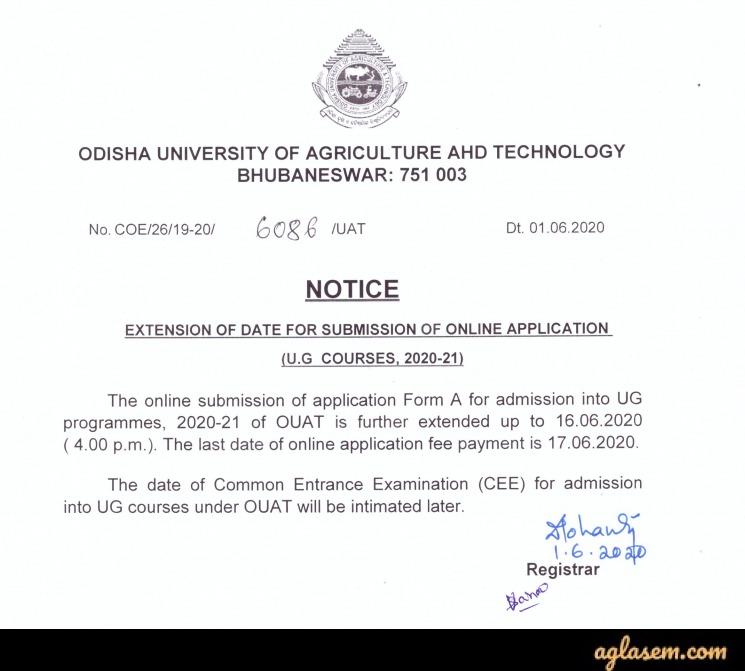 OUAT 2020 Application Deadline Extended Again