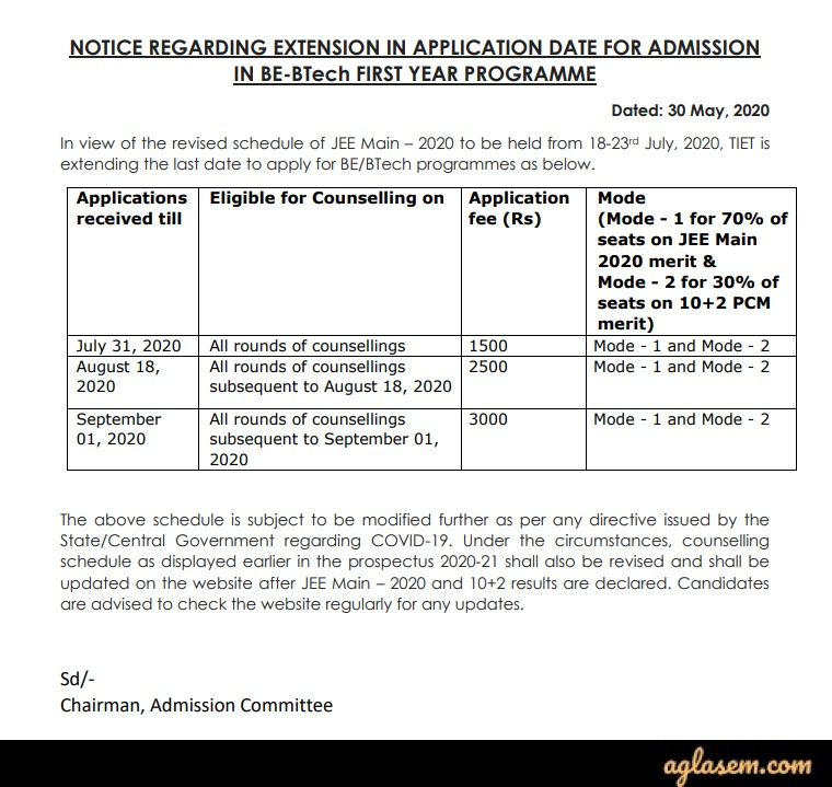 Thapar University B.E./B.Tech. Admission 2020 Last Date to Apply - Extended!