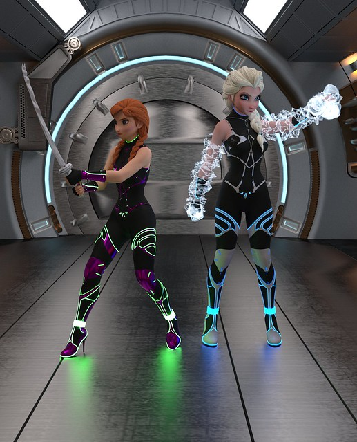 Elsa and Anna Sci fi Combat