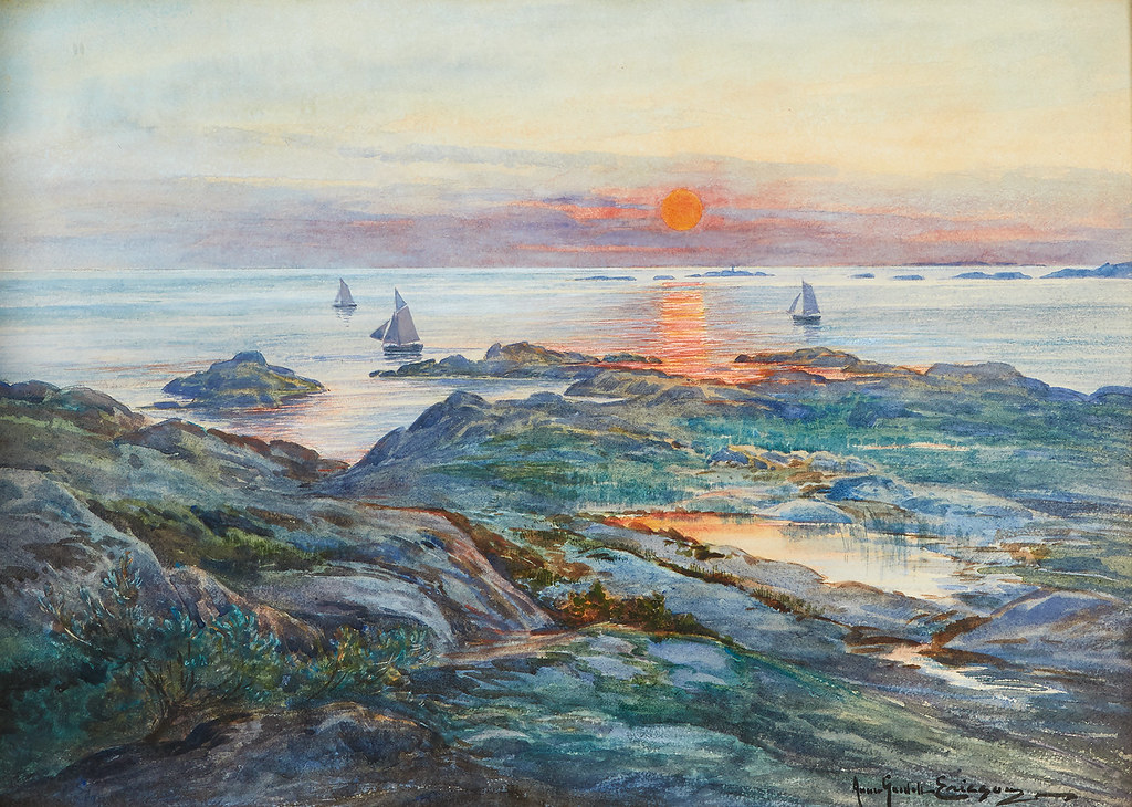 Anna Gardell-Ericson «Boats and cliffs in the evening sun»