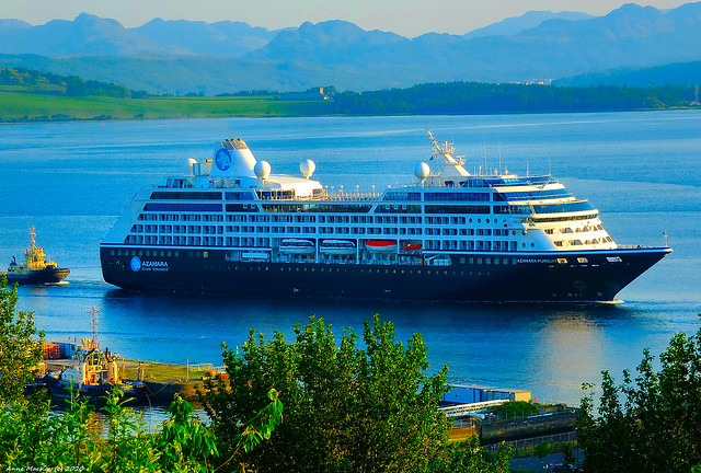 Scotland Greenock the Azamara Pursuit from Miami heading for Braehead in Glasgow to be laidup till the cruise ship business recovers from the Covid-19 lockdown 1 June 2020 by Anne MacKay