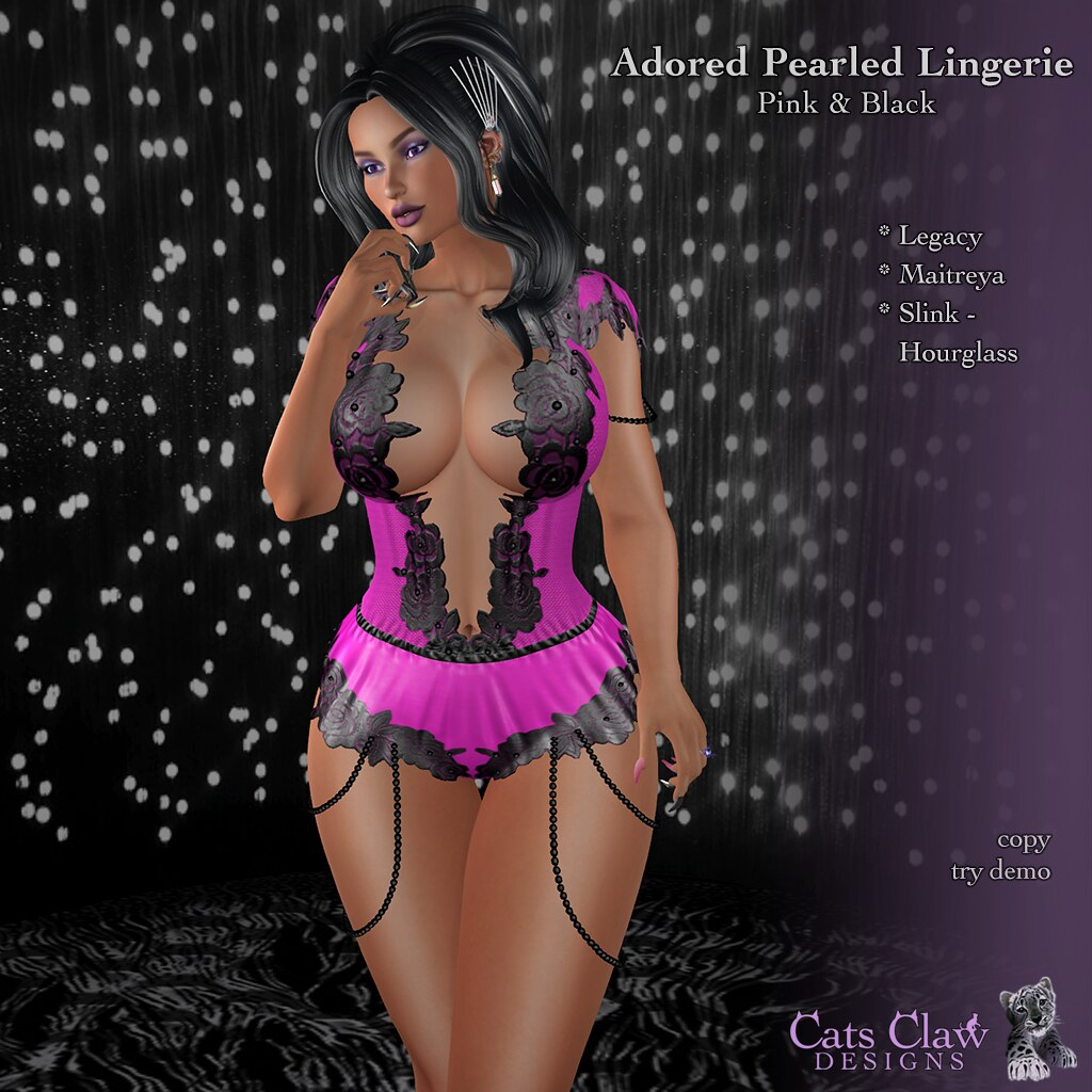 _CCD_ ad Adored Pearled Lingerie Pink & Black