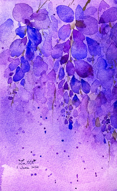 My Watercolour learning journey - Whispering wisteria (again)