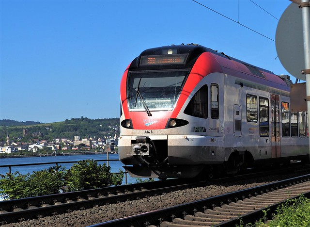 Train in Ruedesheim beside the River Rhine, Germany - On the Way from Koblenz to Wiesbaden near Frankfurt am Main - May 2020