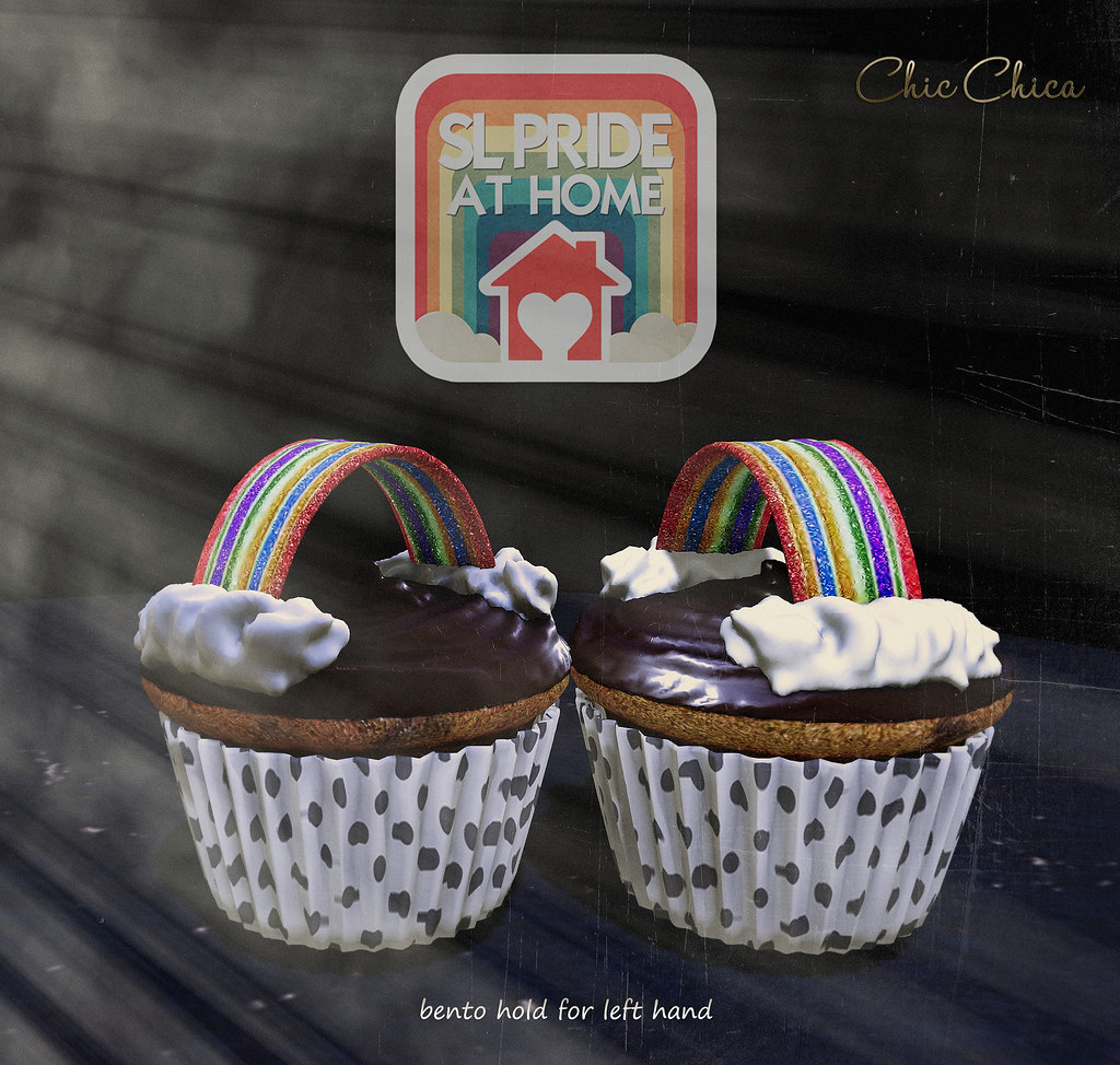Rainbow cupcake by ChicChica for Sl Pride At Home mainstore event